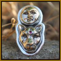 Jaguar and Moon Goddess Ring