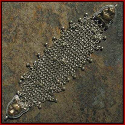 Chain Link Charm Connector Bracelet With Bronze Jaguars